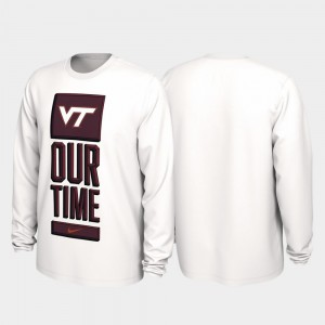 White VT Hokies 2020 March Madness Our Time Bench Legend For Men College T-Shirt