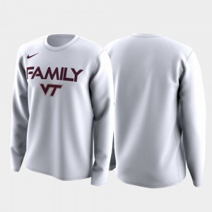 Virginia Tech Hokies March Madness Legend Basketball Long Sleeve White College T-Shirt For Men Family on Court