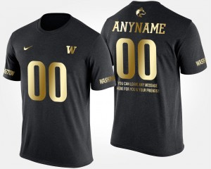 Short Sleeve With Message College Custom T-Shirts Gold Limited For Men UW Huskies #00 Black