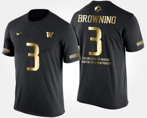 Jake Browning College T-Shirt Black #3 Short Sleeve With Message University of Washington Gold Limited For Men's