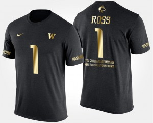 Black John Ross College T-Shirt UW Huskies #1 For Men's Short Sleeve With Message Gold Limited