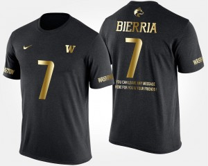UW Huskies #7 Keishawn Bierria College T-Shirt For Men Black Short Sleeve With Message Gold Limited