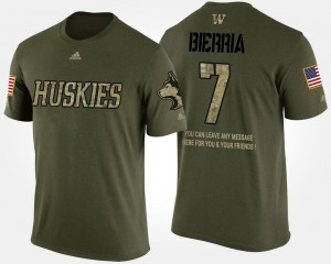 Mens Keishawn Bierria College T-Shirt Camo #7 UW Military Short Sleeve With Message