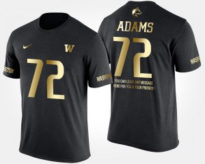 Washington Short Sleeve With Message #72 Gold Limited Black Trey Adams College T-Shirt For Men