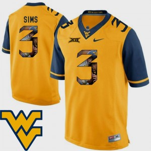 Pictorial Fashion Charles Sims College Jersey West Virginia University Football Gold #3 Men's