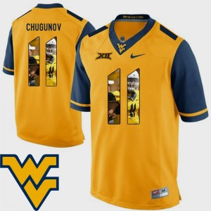 Chris Chugunov College Jersey Pictorial Fashion Mountaineers Football #11 For Men's Gold