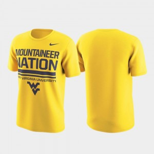 West Virginia University Local Verbiage College T-Shirt For Men's Performance Gold