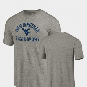 Tri-Blend Distressed College T-Shirt Pick-A-Sport For Men Gray West Virginia Mountaineers