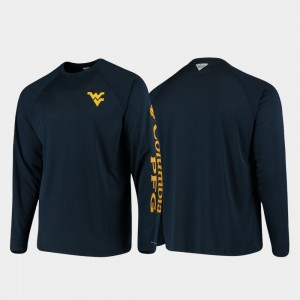 Omni-Shade PFG Terminal Tackle Long Sleeve Men's College T-Shirt Navy West Virginia Mountaineers