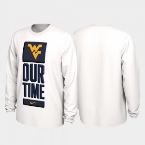 Our Time Bench Legend White 2020 March Madness Men's College T-Shirt West Virginia Mountaineers