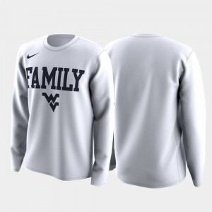 Mountaineers March Madness Legend Basketball Long Sleeve College T-Shirt White For Men Family on Court