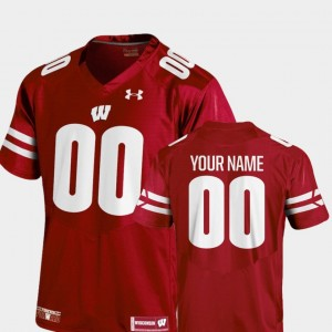 Men's Football #00 Red Wisconsin Badger College Customized Jersey 2018 TC