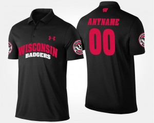 College Customized Polo Black For Men #00 Wisconsin