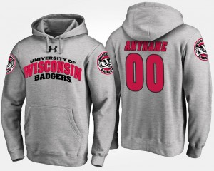 Gray Mens Badgers #00 College Customized Hoodie