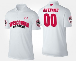 College Customized Polo #00 University of Wisconsin For Men White