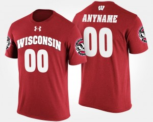 Wisconsin Badgers #00 Mens College Customized T-Shirt Red