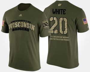 University of Wisconsin #20 Military James White College T-Shirt Camo Short Sleeve With Message Mens