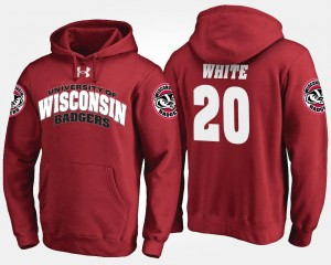 #20 Wisconsin Badgers Red Mens James White College Hoodie