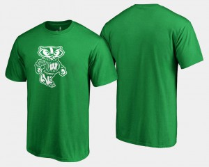 College T-Shirt Wisconsin Badgers For Men White Logo Big & Tall St. Patrick's Day Kelly Green