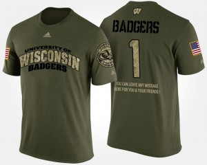 College T-Shirt #1 For Men's University of Wisconsin Military Camo No.1 Short Sleeve With Message