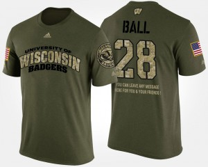 For Men Camo Short Sleeve With Message Military UW #28 Montee Ball College T-Shirt
