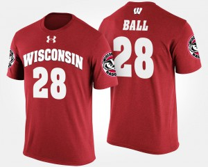 #28 Red Mens Wisconsin Badger Montee Ball College T-Shirt