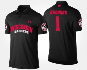 College Polo Mens #1 University of Wisconsin No.1 Short Sleeve Black