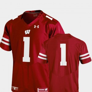 Team Replica Red For Men #1 College Jersey Football Badgers