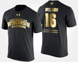 Russell Wilson College T-Shirt Gold Limited Short Sleeve With Message University of Wisconsin Men's #16 Black