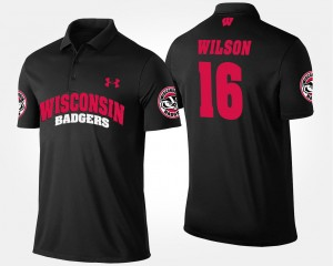 Russell Wilson College Polo Men's Black Wisconsin Badgers #16