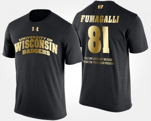 Troy Fumagalli College T-Shirt Short Sleeve With Message University of Wisconsin #81 Black Mens Gold Limited
