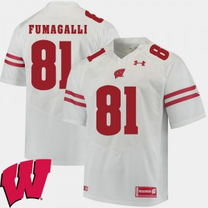 Men's White 2018 NCAA Alumni Football Game Badgers #81 Troy Fumagalli College Jersey