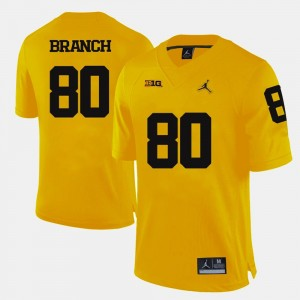Yellow Football Michigan #80 For Men's Alan Branch College Jersey