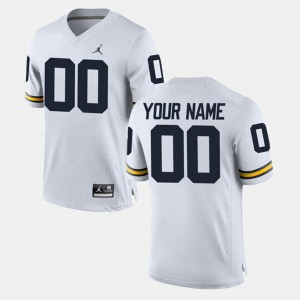 For Men College Custom Jerseys #00 Wolverines Limited Football White
