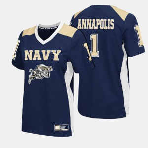 United States Naval Academy #1 Navy For Women's Football College Jersey