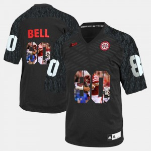 For Men Cornhuskers #80 Player Pictorial Kenny Bell College Jersey Black