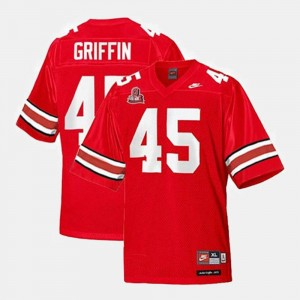 For Kids #45 Buckeye Football Red Archie Griffin College Jersey