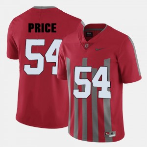 Football Billy Price College Jersey #54 Red Ohio State Buckeye For Men's