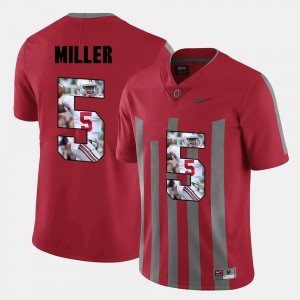 For Men's #5 Pictorial Fashion Braxton Miller College Jersey Ohio State Red
