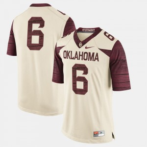 College Jersey Mens #6 OU Sooners Cream Football