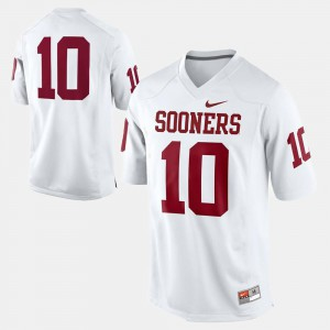 Mens Sooners College Jersey #10 Football White
