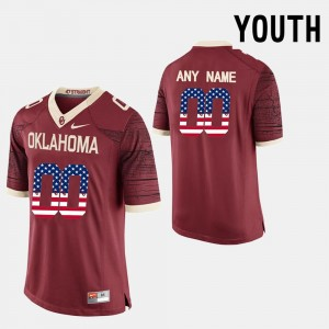 Red For Kids #00 College Customized Jerseys US Flag Fashion University Of Oklahoma