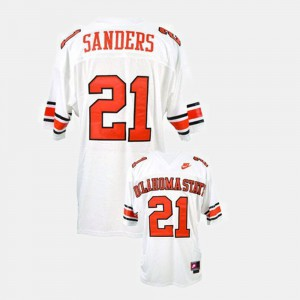 For Kids Barry Sanders College Jersey White OK State Football #21
