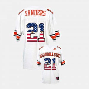 Barry Sanders College Jersey #21 White Men Throwback Cowboys
