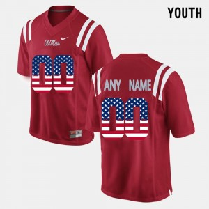 Red University of Mississippi #00 Kids US Flag Fashion College Customized Jerseys
