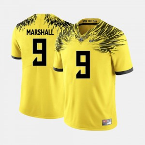 Oregon #9 Yellow For Men Football Byron Marshall College Jersey