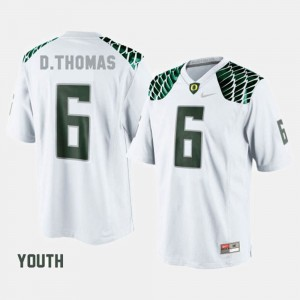De'Anthony Thomas College Jersey Football For Kids #6 Oregon Duck White
