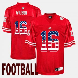 US Flag Fashion Red For Men Wisconsin Badger #16 Russell Wilson College Jersey