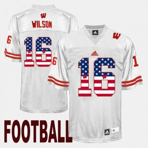 #16 For Men's White Russell Wilson College Jersey US Flag Fashion Badgers