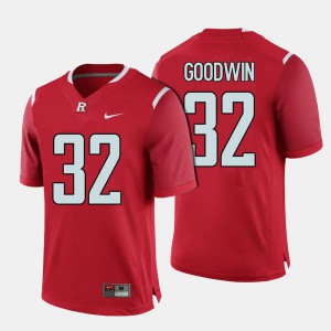 #32 Red Rutgers University Justin Goodwin College Jersey Football For Men